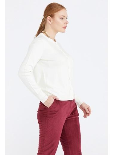 Sementa Kadın Basic Triko Hırka - Kemik Beyaz